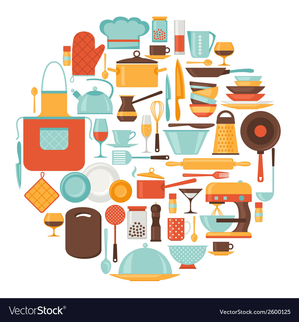Background with kitchen and restaurant utensils vector | Price: 1 Credit (USD $1)