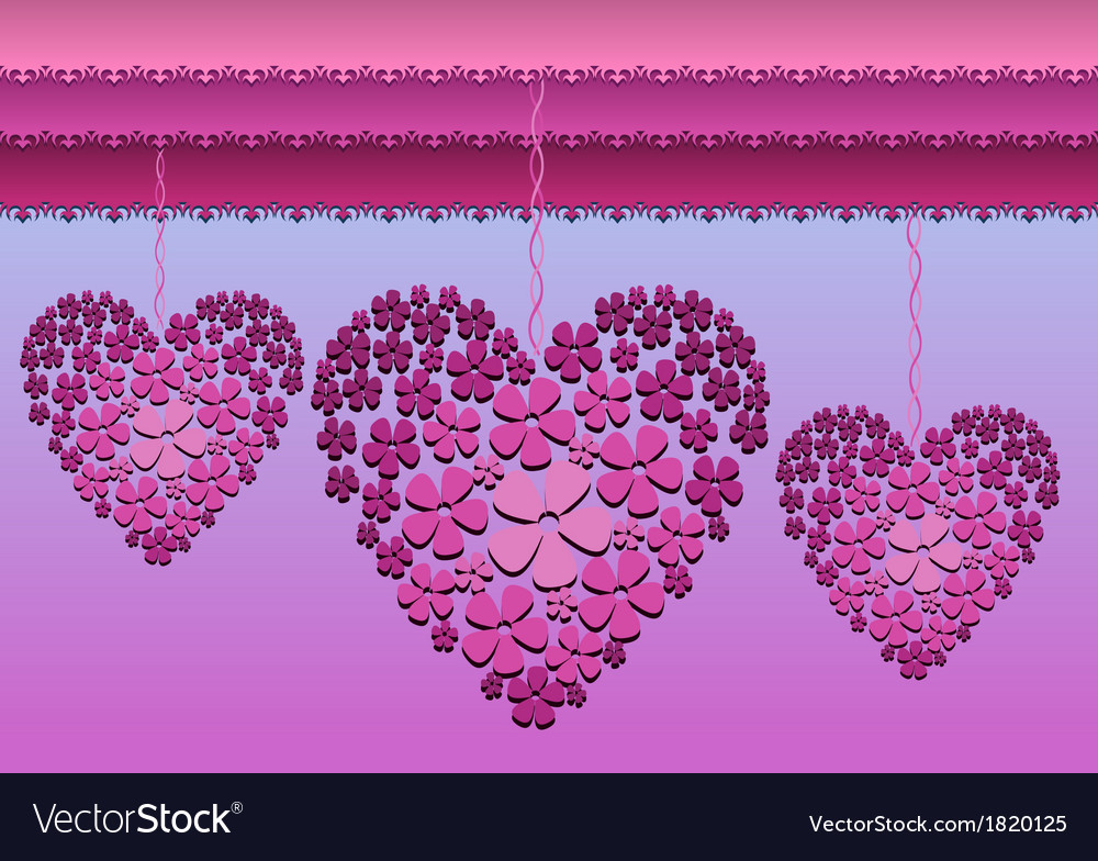Card with floral hanged hearts vector | Price: 1 Credit (USD $1)