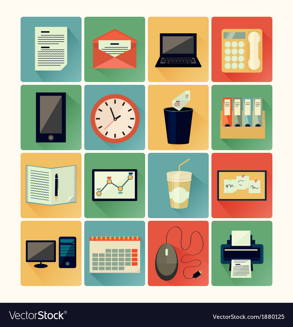 Flat icons office 01 vector | Price: 1 Credit (USD $1)