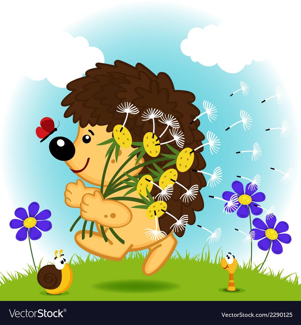 Hedgehog with dandelion vector | Price: 1 Credit (USD $1)