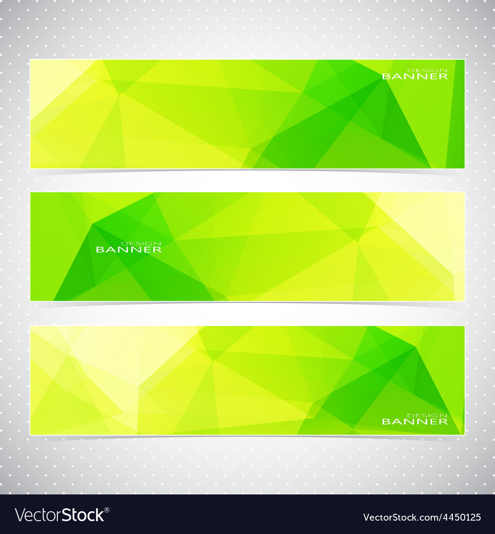 Horizontal polygonal set of banners in green and vector