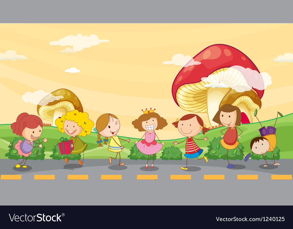 Kids playing at the roadside vector | Price: 1 Credit (USD $1)