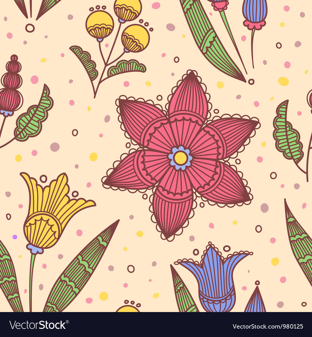 Seamless light striped flowers vector | Price: 1 Credit (USD $1)
