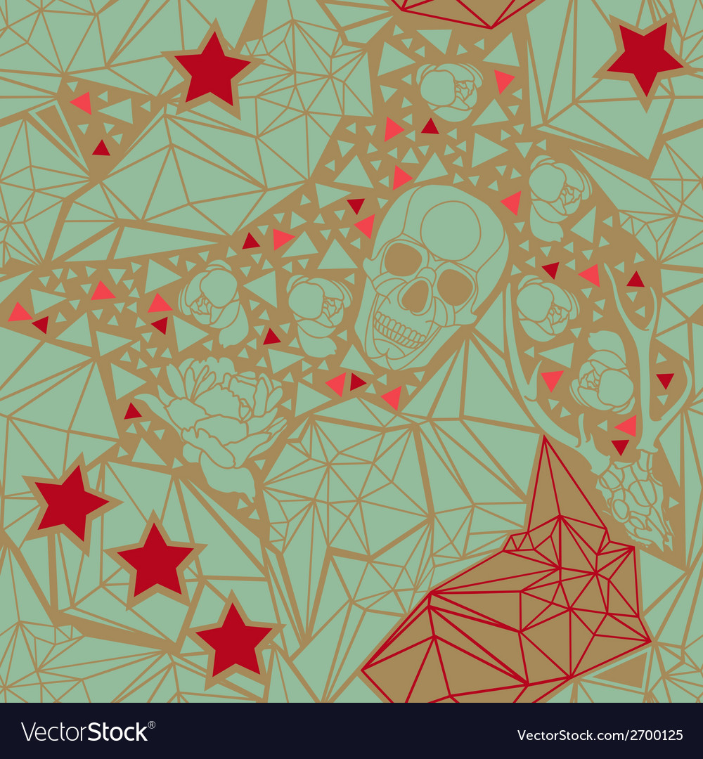 Skull with floral and polygonal ornament vector | Price: 1 Credit (USD $1)