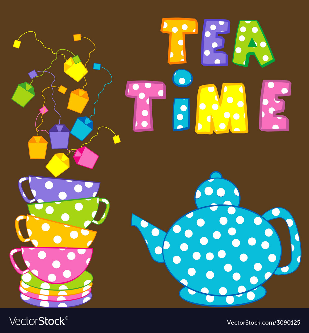 Tea time with stacked cups and kettle vector | Price: 1 Credit (USD $1)