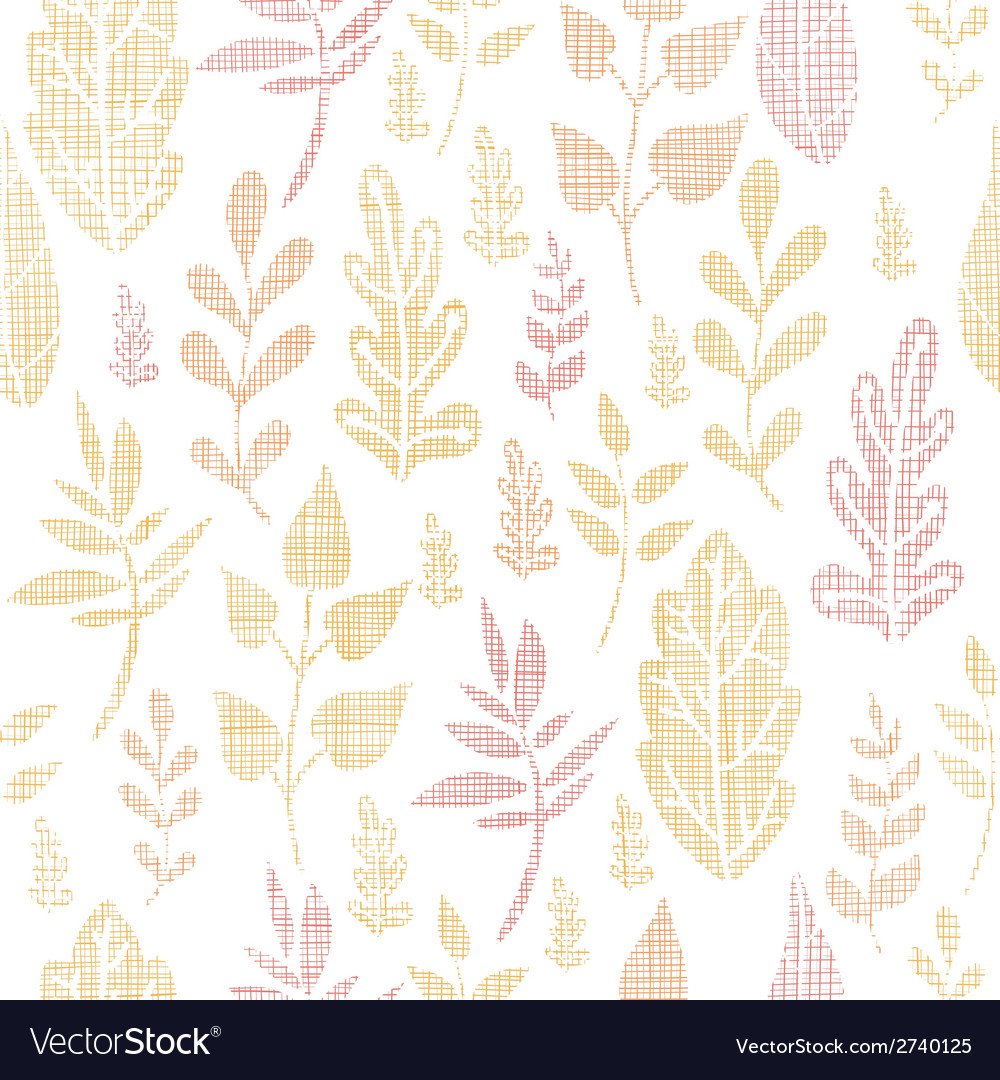 Textile textured fall leaves seamless pattern vector | Price: 1 Credit (USD $1)
