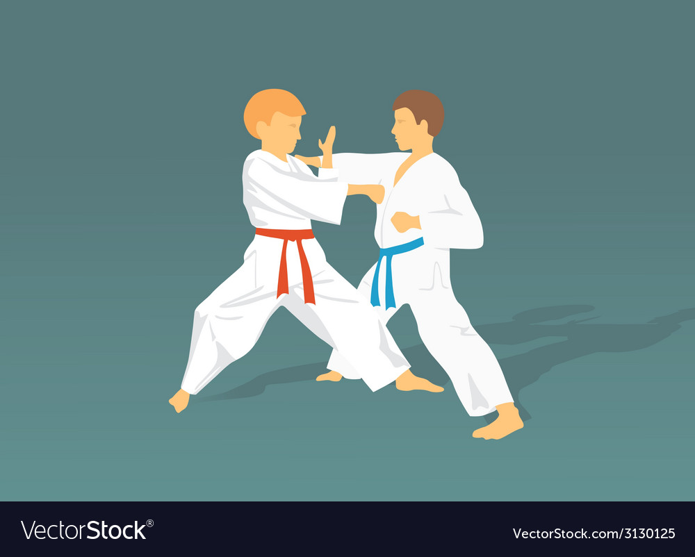 Two boys are engaged in karate against a dark vector | Price: 1 Credit (USD $1)