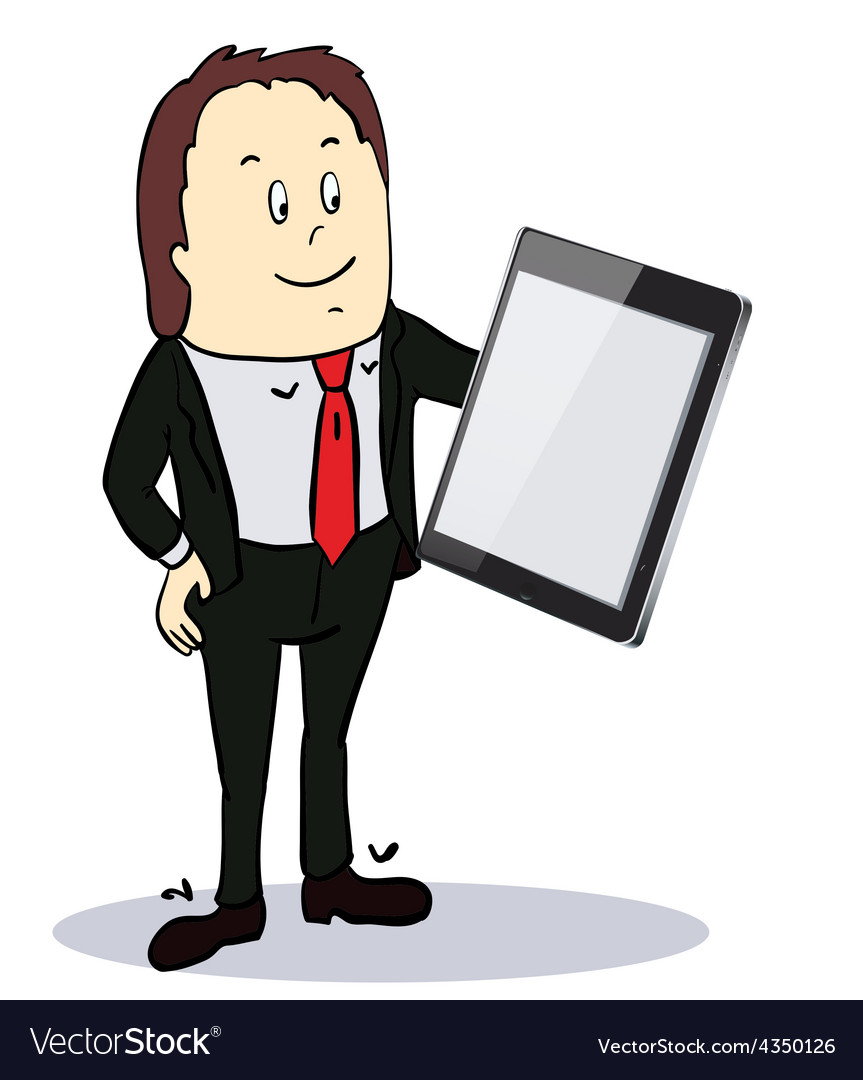 Businessman pointing to the screen of a tabletpc vector