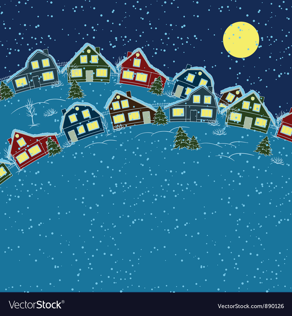 Christmas card cute little town in winter vector | Price: 1 Credit (USD $1)