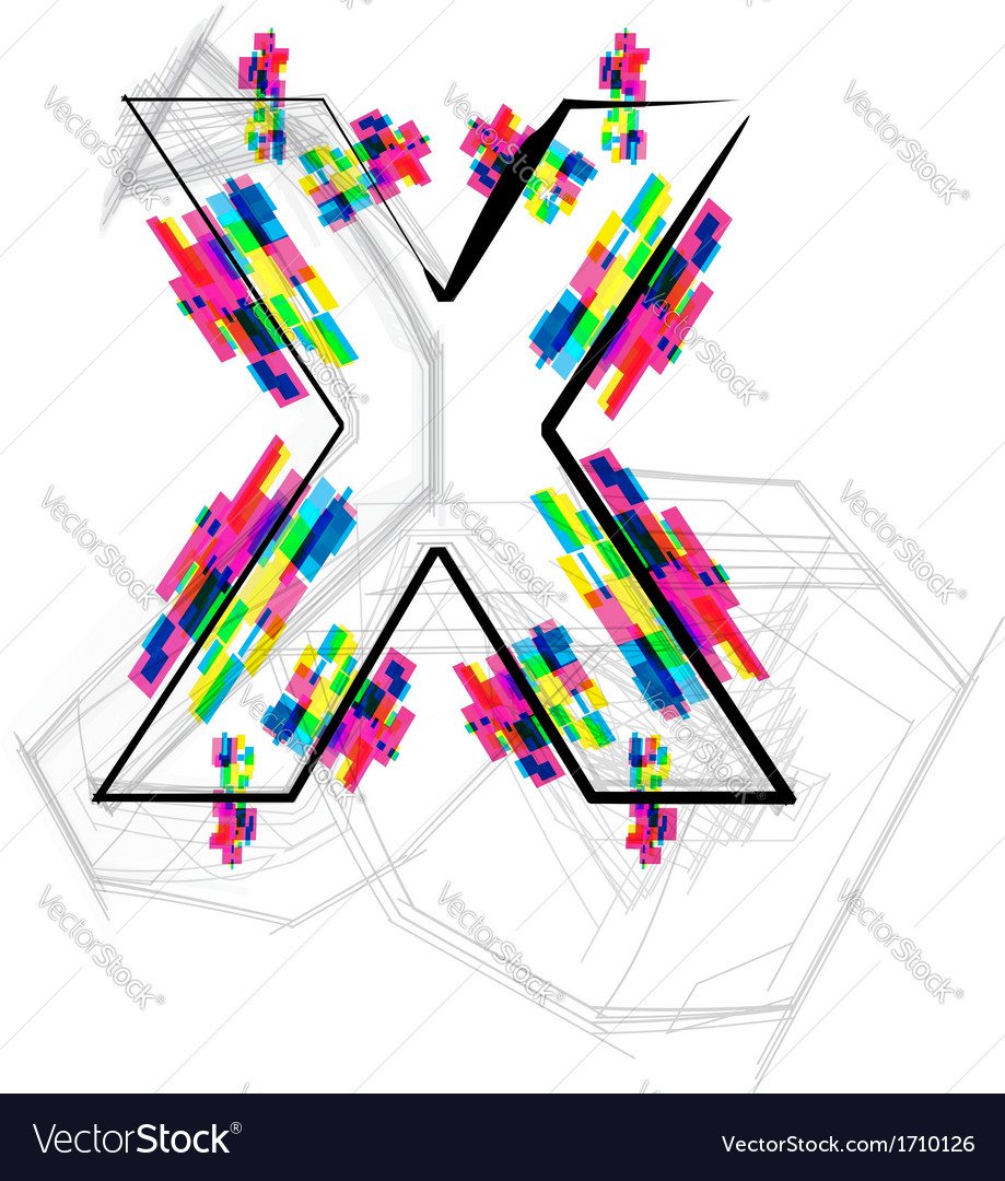 Colorful font letter x vector | Price: 1 Credit (USD $1)