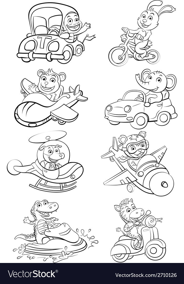 Funny vehicle and animal set vector | Price: 1 Credit (USD $1)