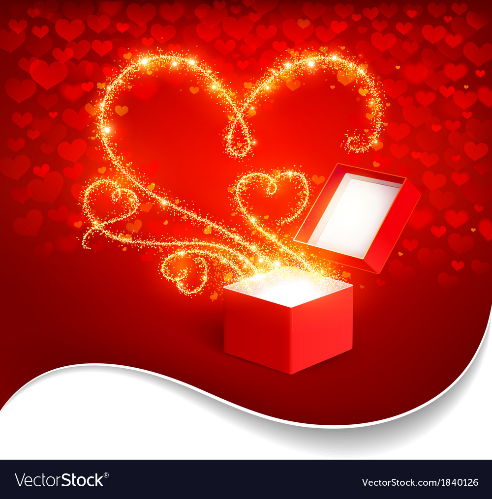 Gift box with magic hearts vector | Price: 1 Credit (USD $1)