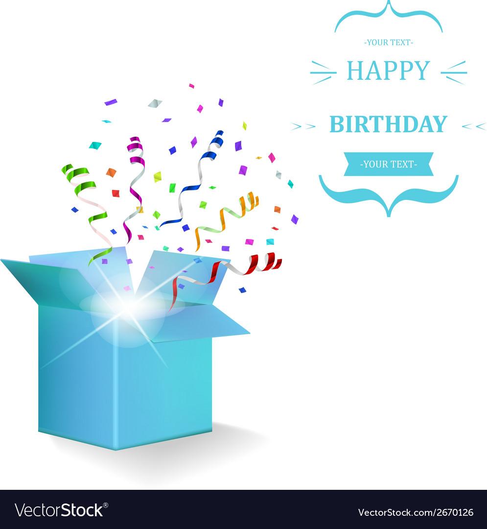 Happy birthday box with confetti surprise vector | Price: 1 Credit (USD $1)