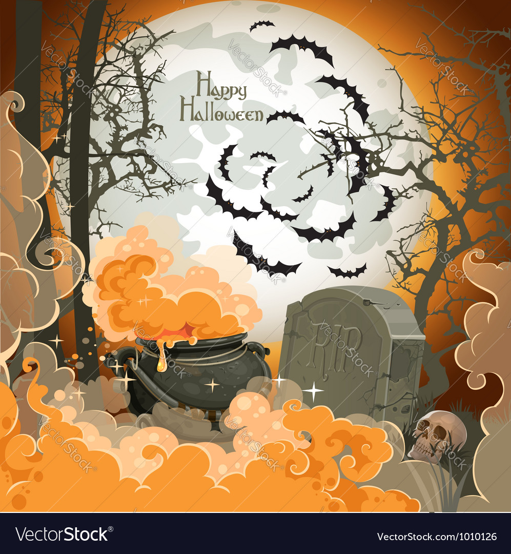 Happy halloween night of 31 october pot of potion vector | Price: 3 Credit (USD $3)
