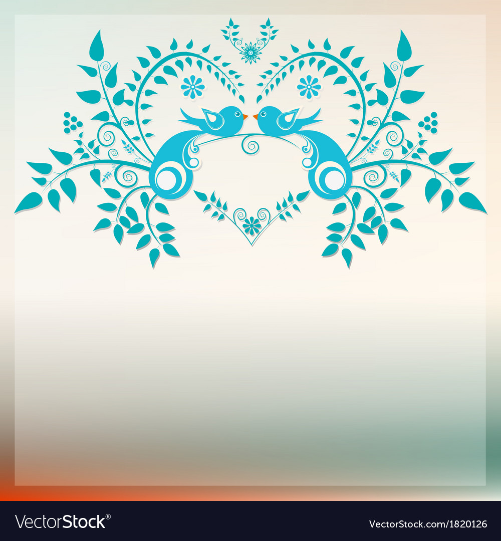 Heart with love blue birds vector | Price: 1 Credit (USD $1)
