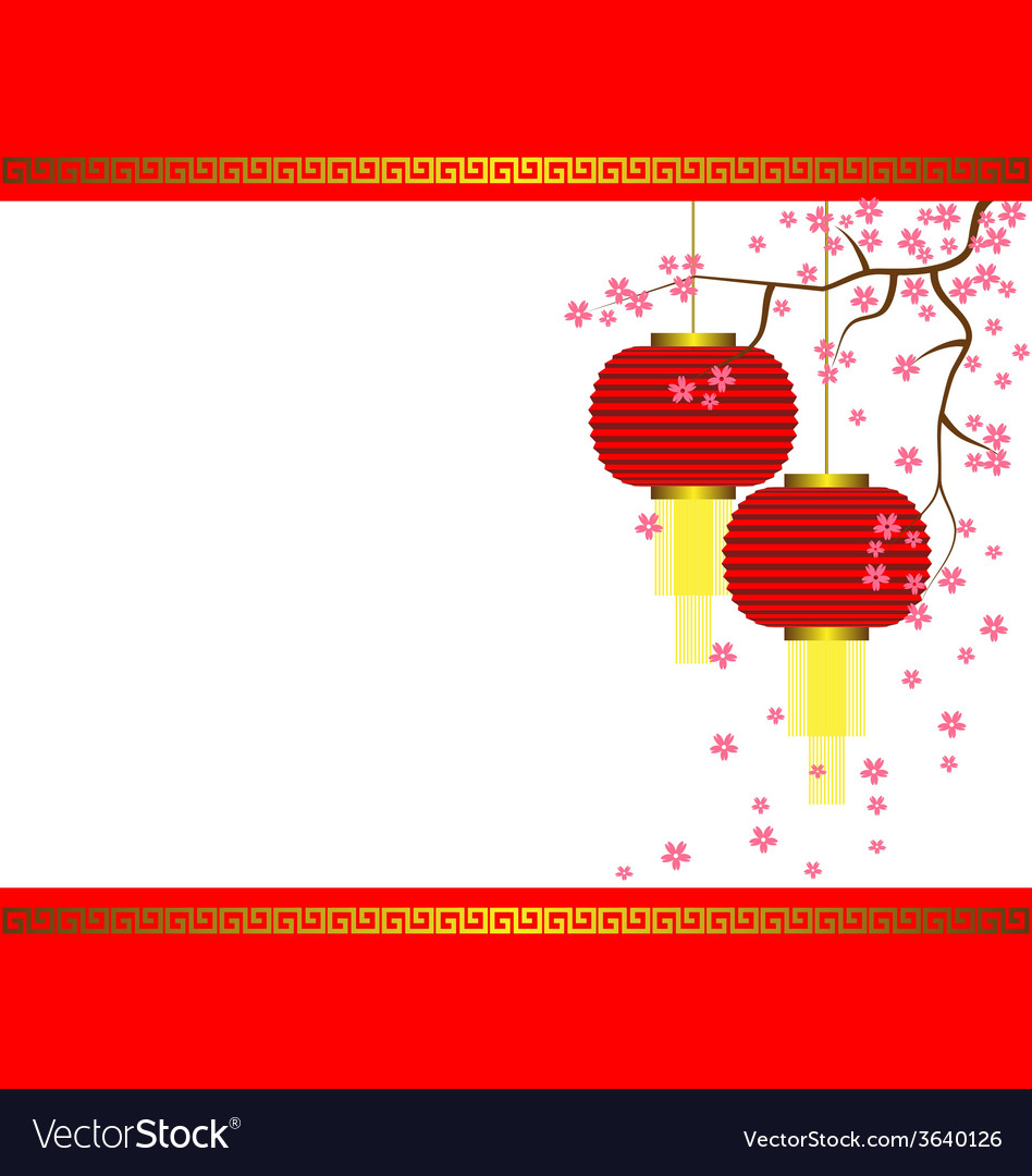 Lamp and sakura on chinese new year background vector | Price: 1 Credit (USD $1)