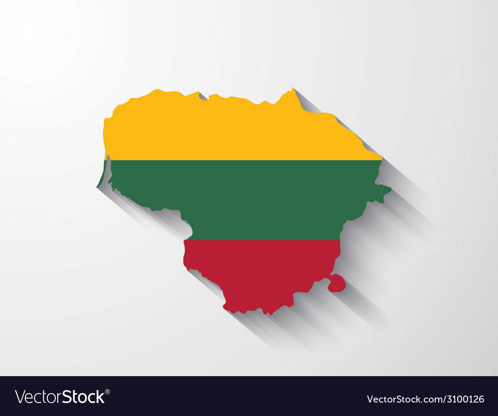 Lithuania map with shadow effect vector | Price: 1 Credit (USD $1)