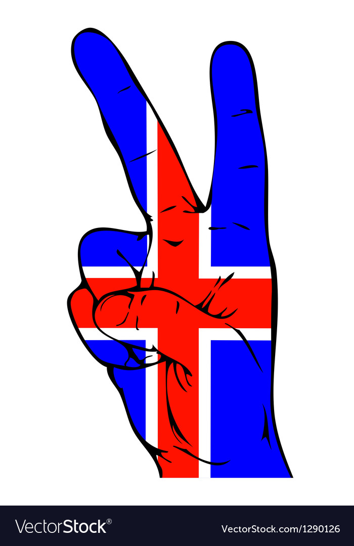 Peace sign of the icelandic flag vector | Price: 1 Credit (USD $1)
