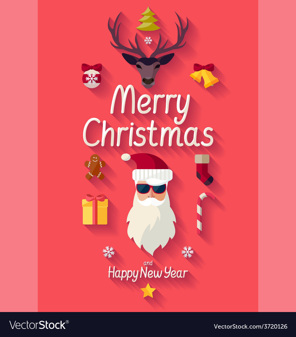 Red christmas poster vector | Price: 1 Credit (USD $1)