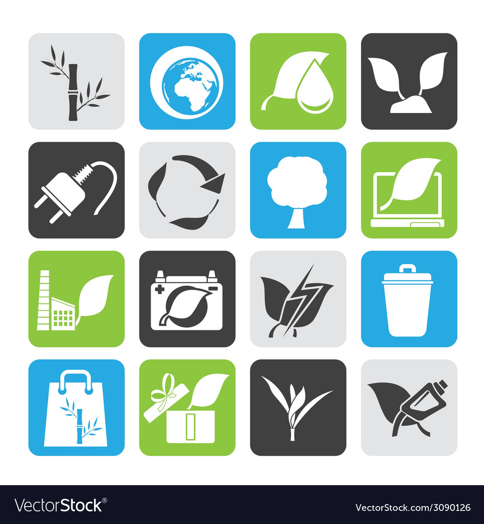 Silhouette environment and conservation icons vector | Price: 1 Credit (USD $1)