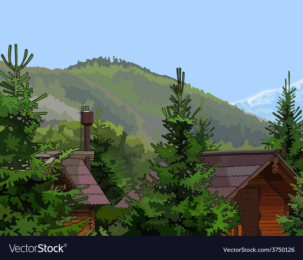 Wooden houses in the firs mountains vector | Price: 3 Credit (USD $3)