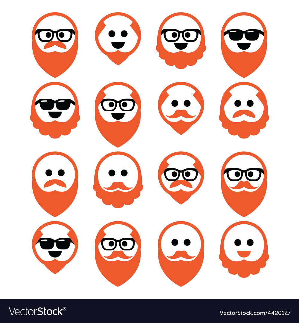 Bald man with ginger beard and mustache icons set vector