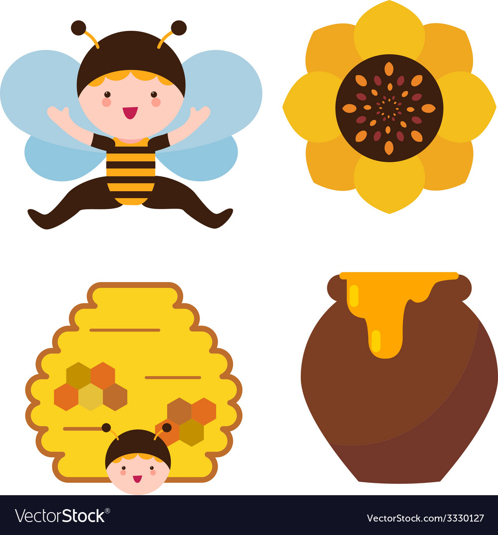Bee baby and honey vector | Price: 1 Credit (USD $1)
