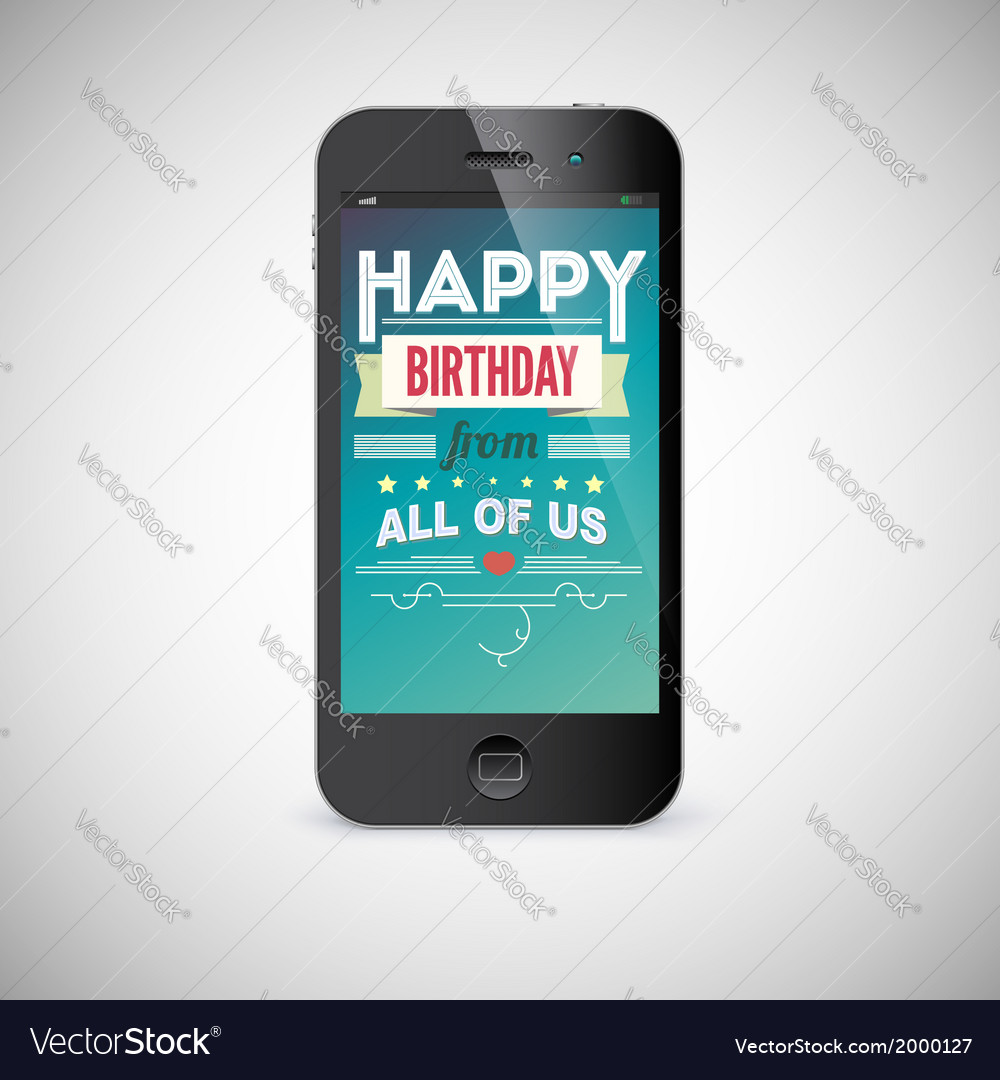 Birthday greeting card on screen of mobile phone vector | Price: 1 Credit (USD $1)