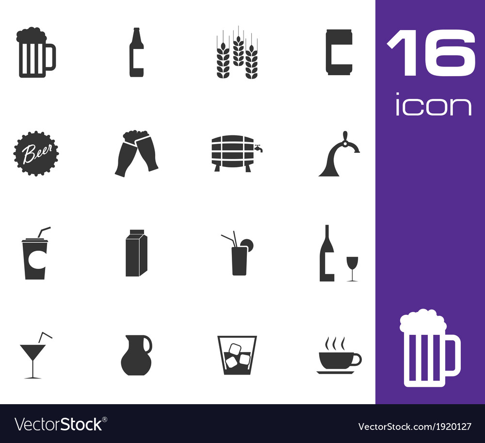 Black beer and beverage icons set on white vector | Price: 1 Credit (USD $1)
