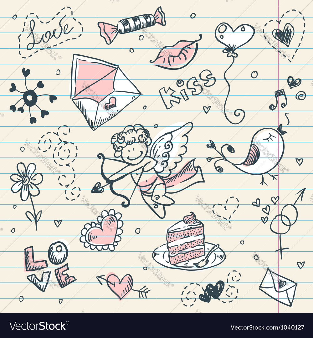 Doodle valentines day scrapbook page vector | Price: 1 Credit (USD $1)
