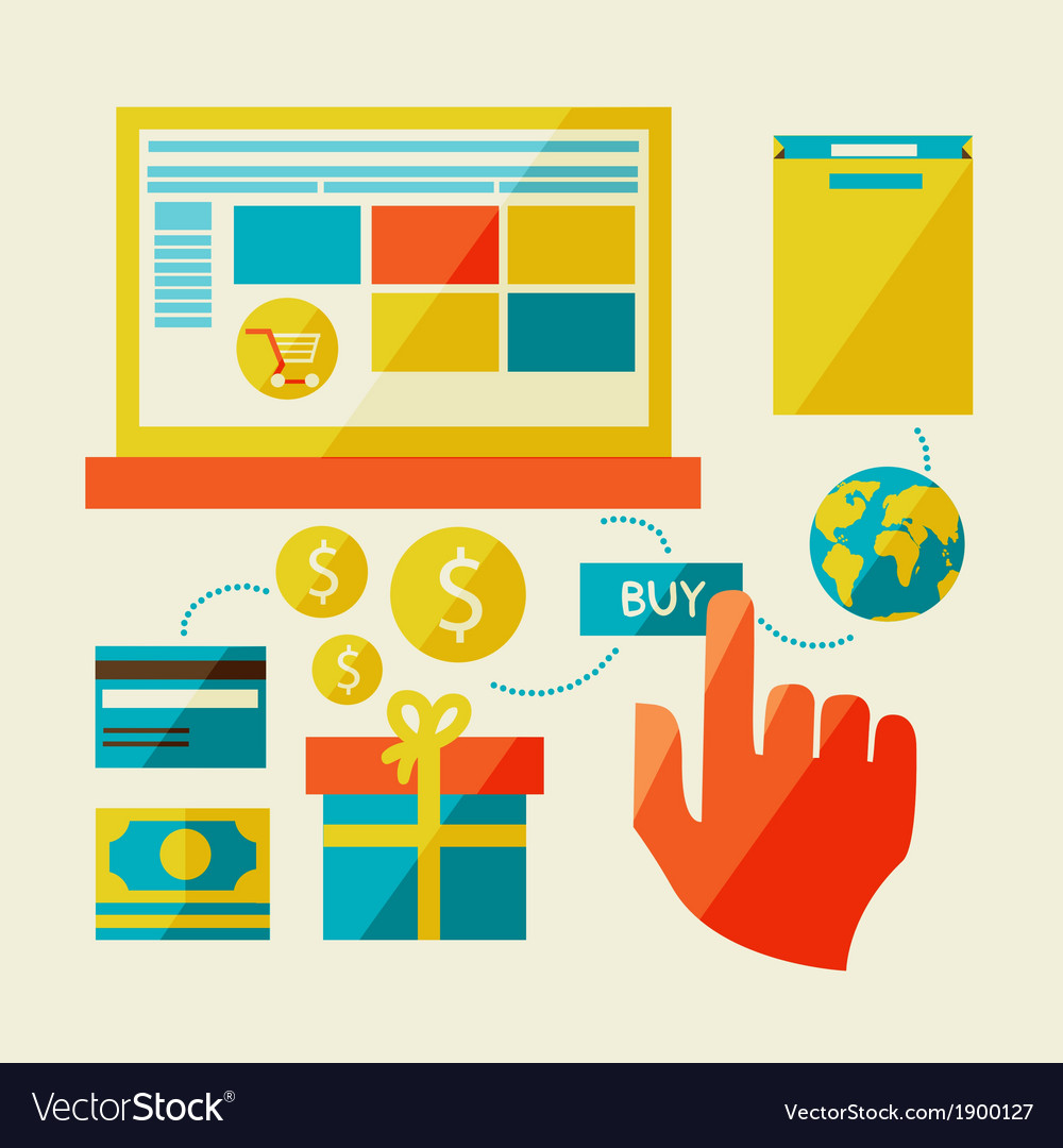 E-commerce symbols internet shopping elements vector | Price: 1 Credit (USD $1)