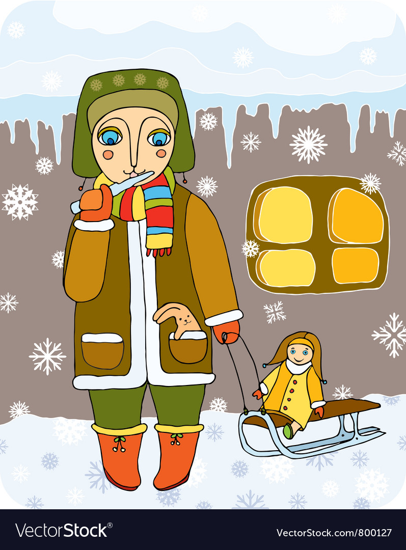 Girl with sled vector | Price: 1 Credit (USD $1)