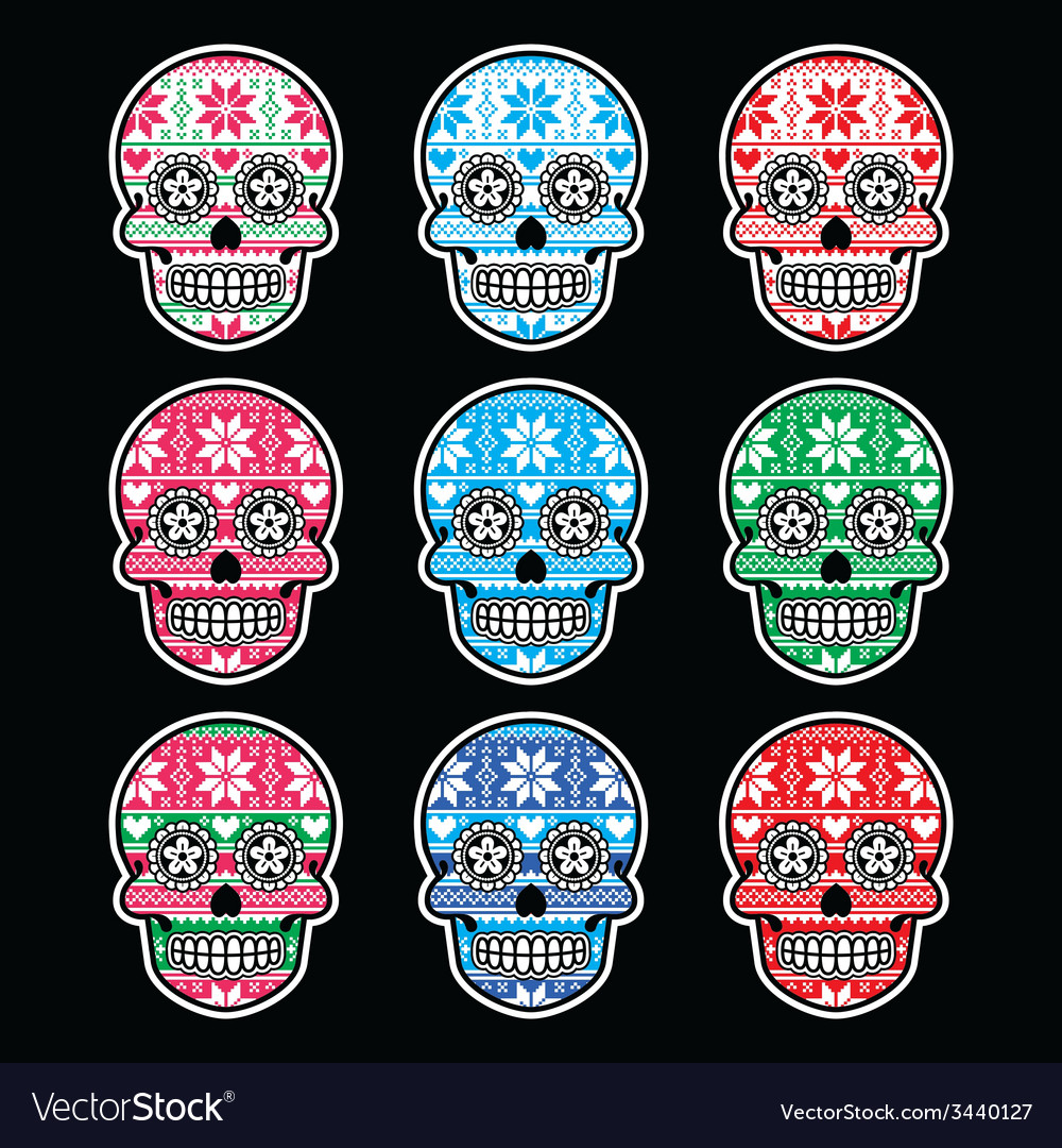 Mexican sugar skull with winter nordic pattern vector | Price: 1 Credit (USD $1)