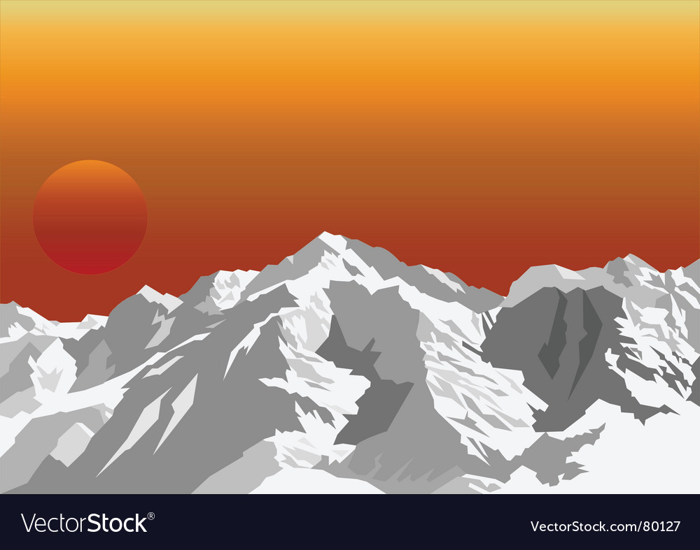 Mountain sun rise vector | Price: 1 Credit (USD $1)