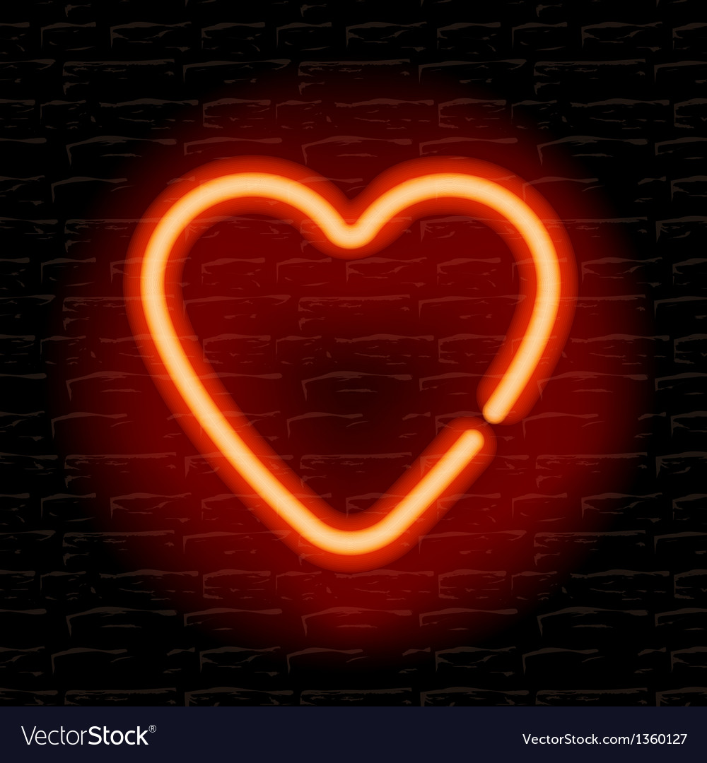Neon heart on the brick wall vector | Price: 1 Credit (USD $1)