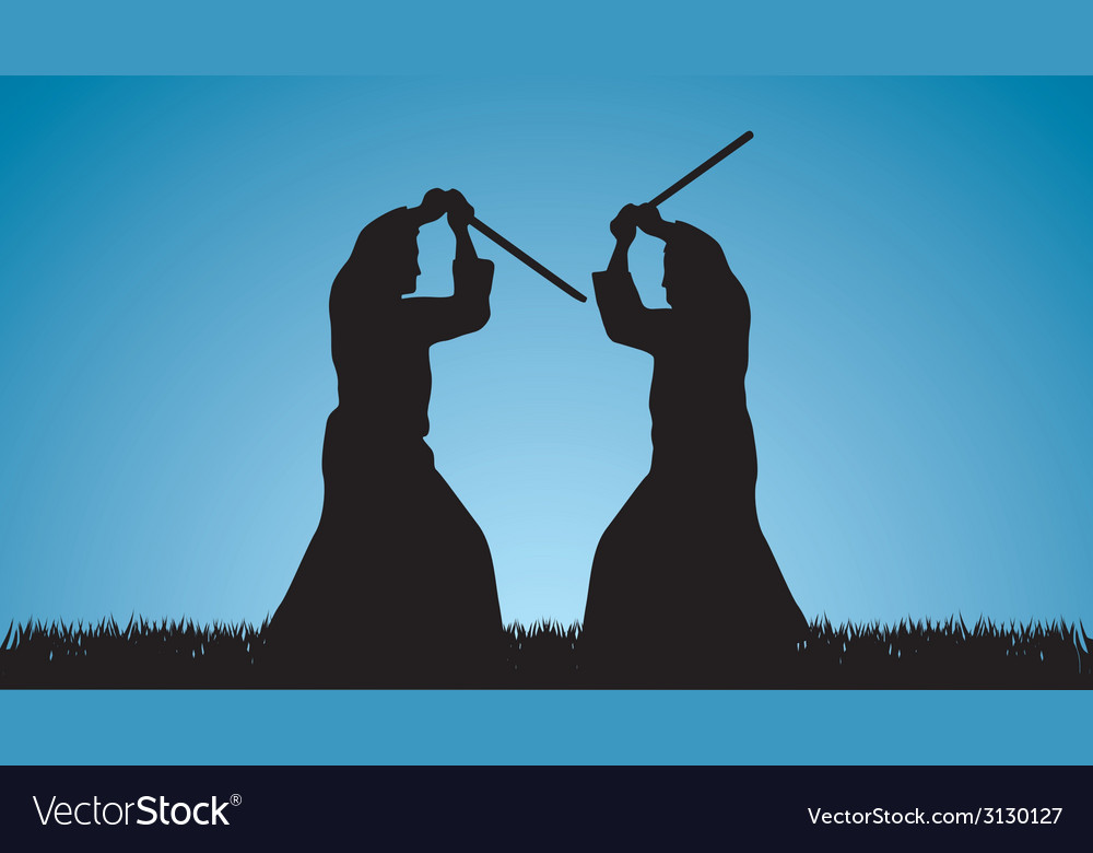 Two men are engaged in aikido against the blue sky vector | Price: 1 Credit (USD $1)