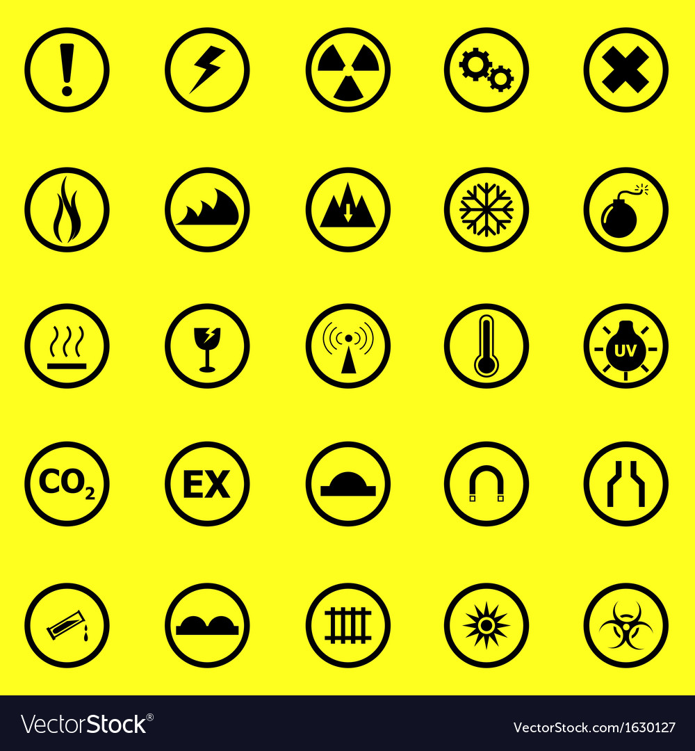 Warning sign icons on yellow background vector | Price: 1 Credit (USD $1)