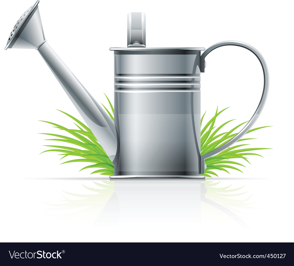 Watering can and grass vector | Price: 1 Credit (USD $1)