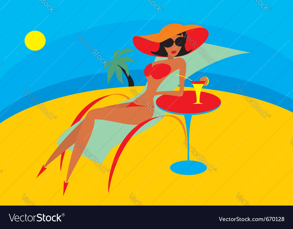 Beach chaise lounge vector | Price: 1 Credit (USD $1)