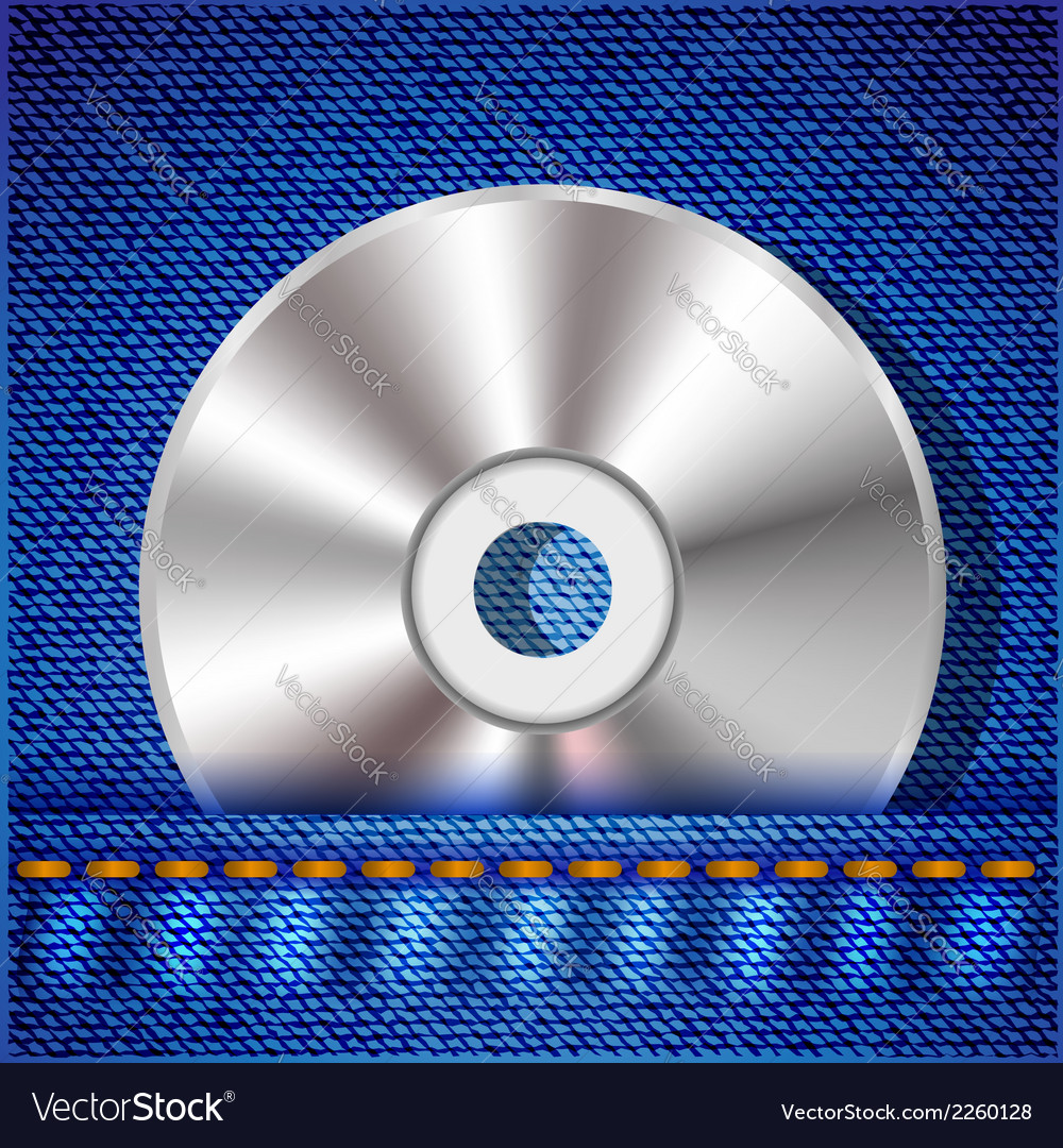 Cd on a blue jeans background vector | Price: 1 Credit (USD $1)