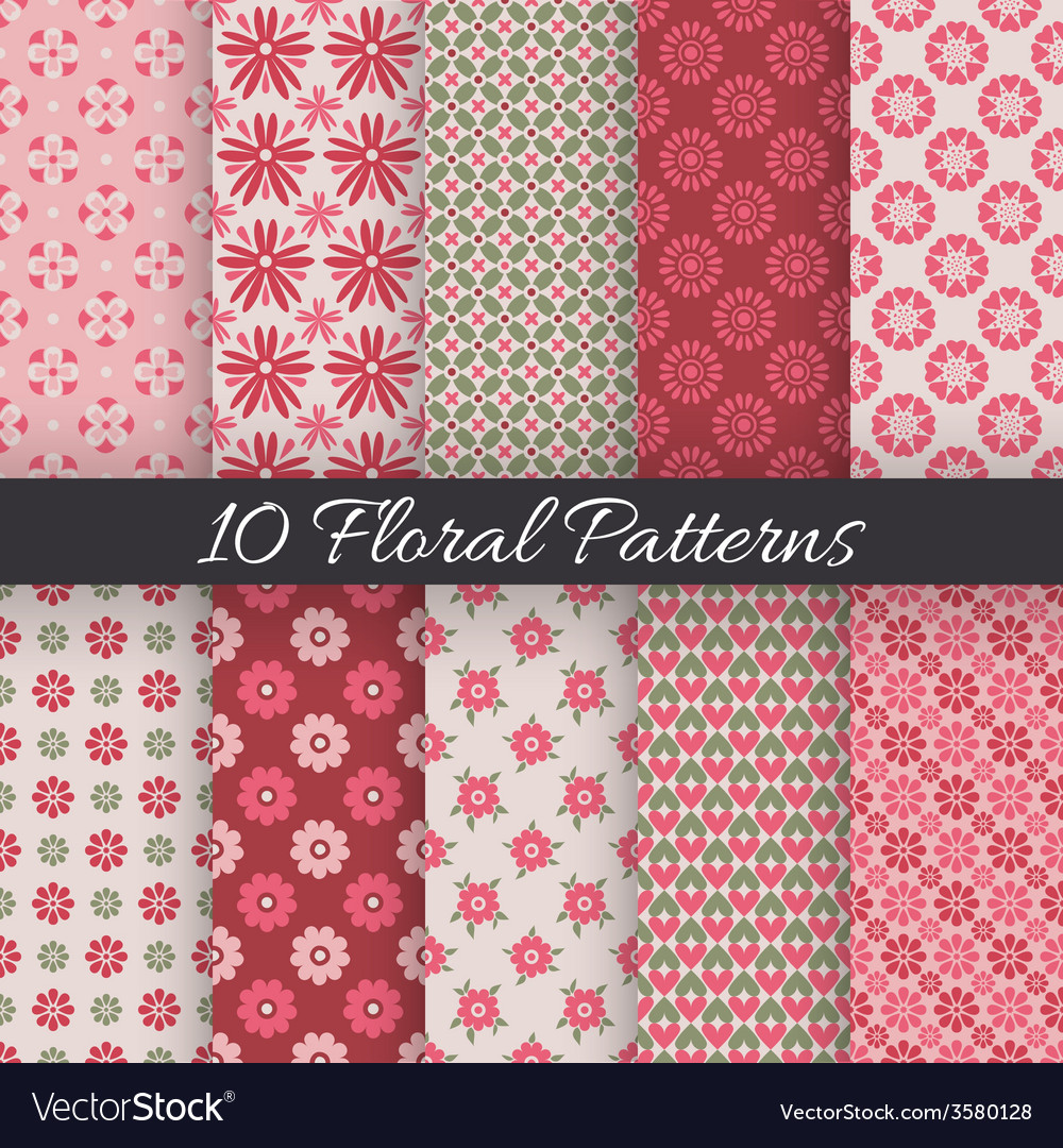 Cute floral seamless patterns vector | Price: 1 Credit (USD $1)