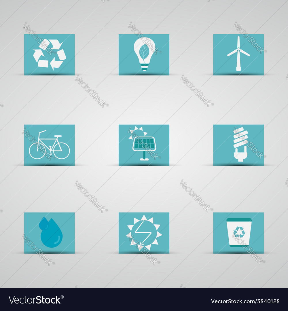 Eco friendly icon set in lovely blue and silver vector | Price: 1 Credit (USD $1)