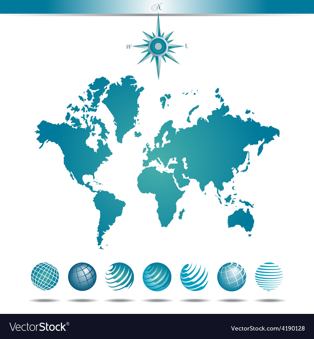 Globes with world map and compass vector | Price: 1 Credit (USD $1)