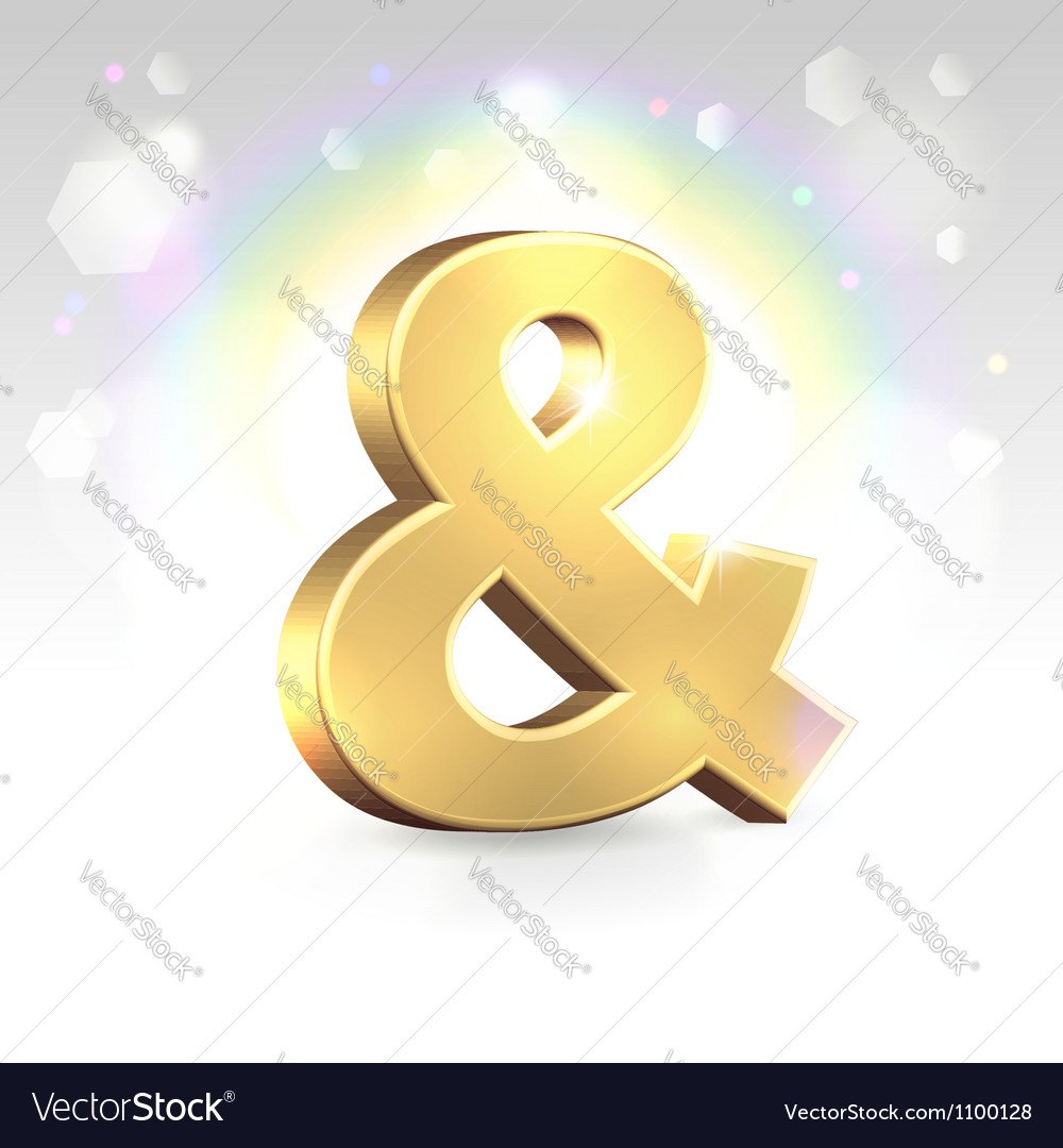 Golden ampersand sign over magic vector | Price:  Credit (USD $)