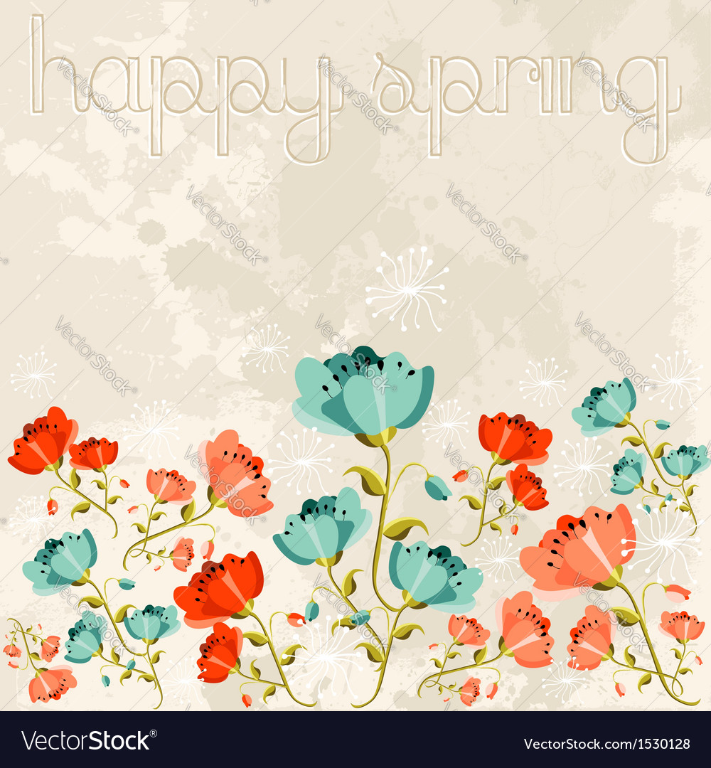 Happy spring poppy flower vector | Price: 1 Credit (USD $1)