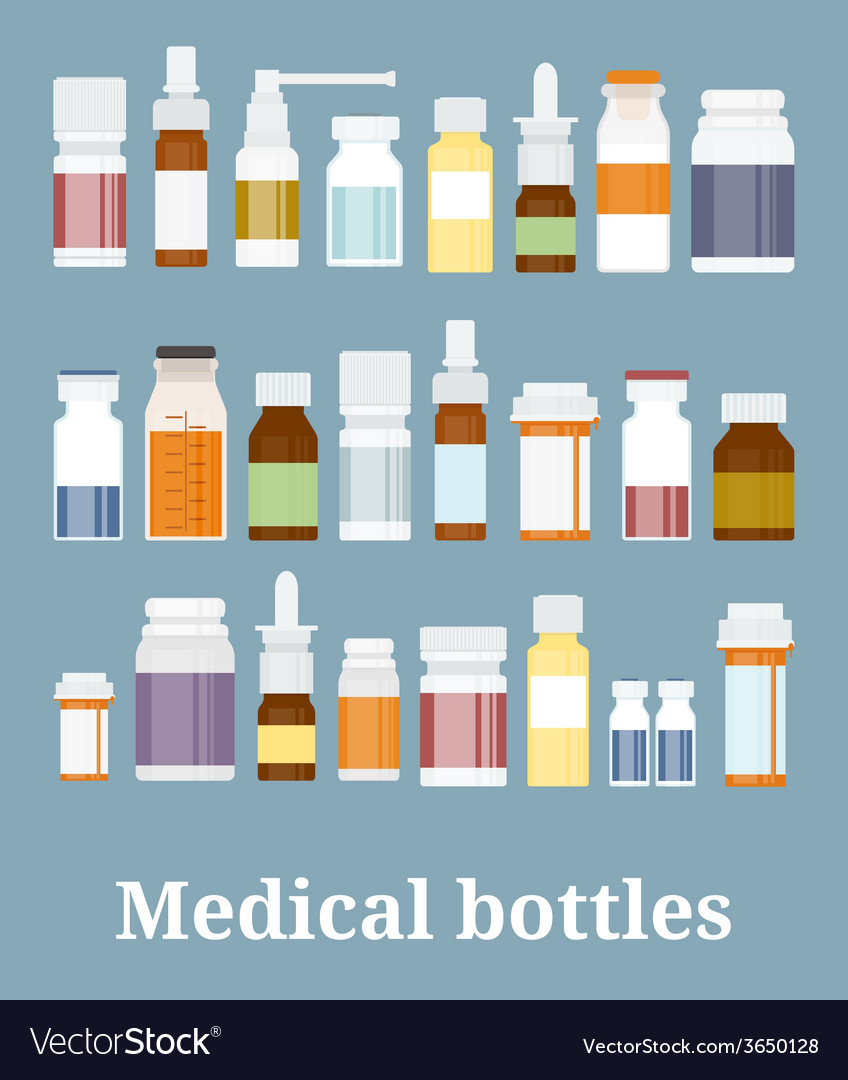 Medicine bottles collection vector | Price: 1 Credit (USD $1)