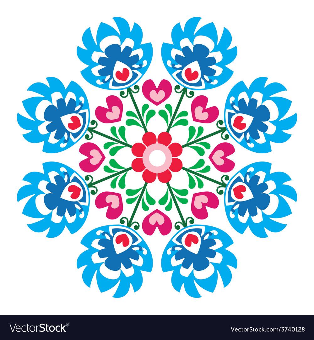 Polish round folk art pattern - wzory lowickie vector | Price: 1 Credit (USD $1)