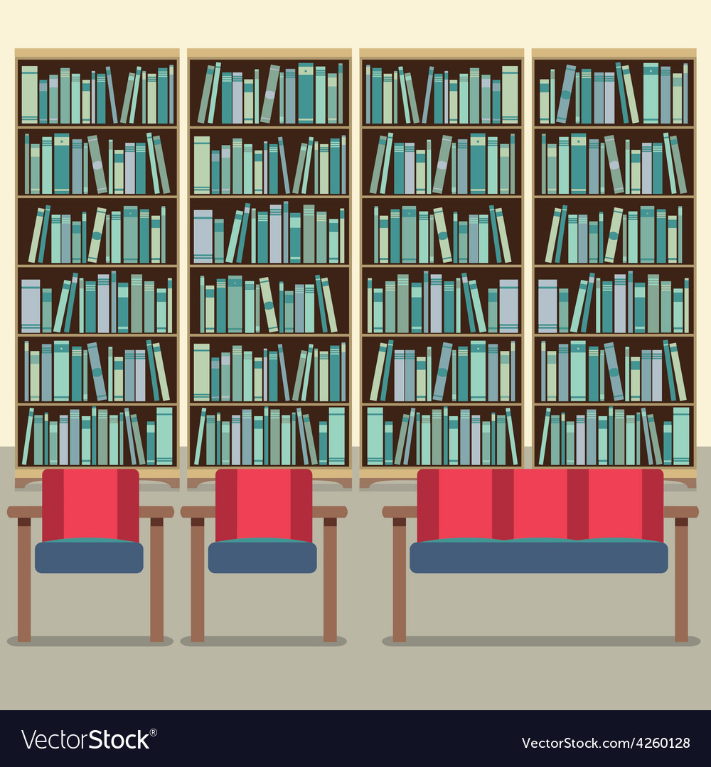 Reading seats in front of a bookcase vector | Price: 1 Credit (USD $1)