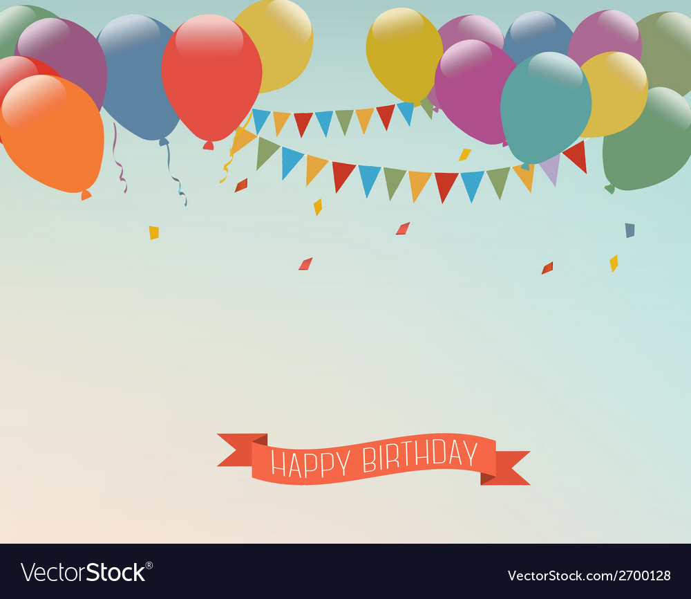 Retro holiday background with colorful balloons vector | Price: 1 Credit (USD $1)