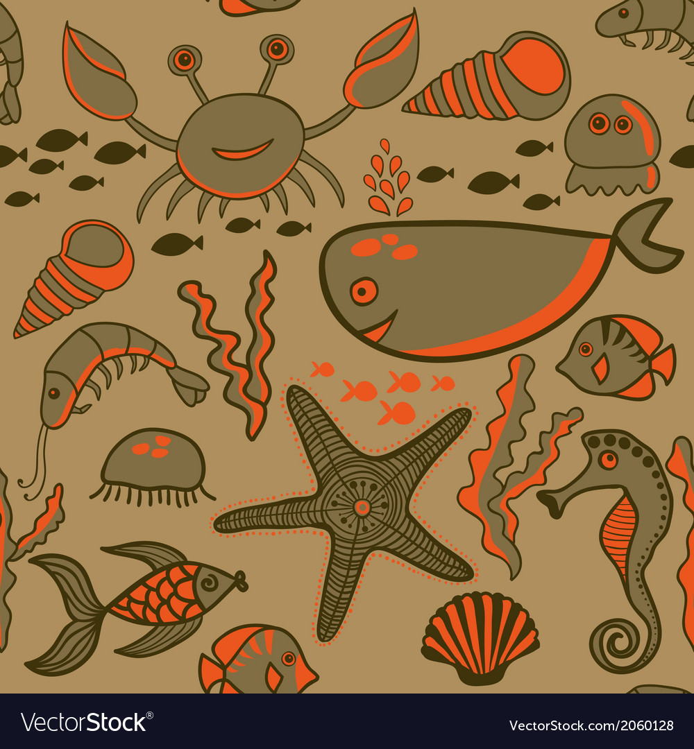Sea background marine seamless pattern with fish vector | Price: 1 Credit (USD $1)